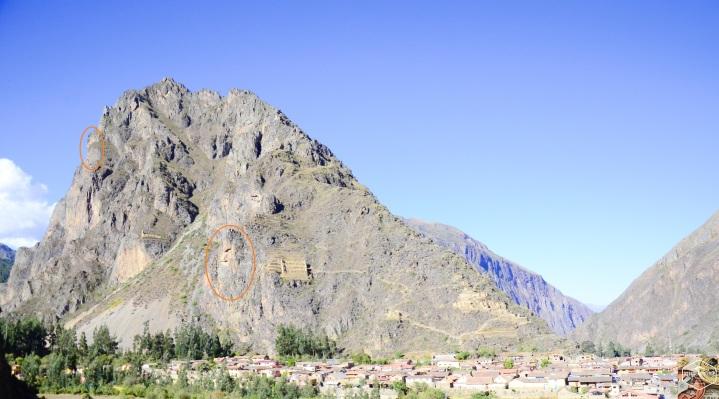 Montanha com as Qolqas, e o rosto do Deus Tunupa e de um Inca.